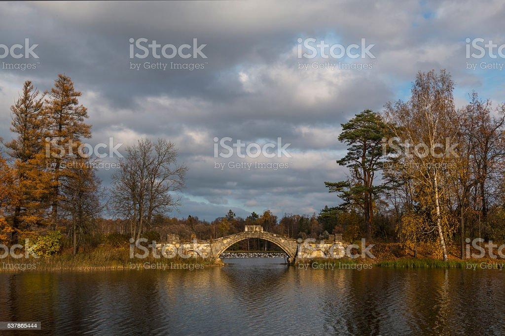 Aotumn bridge stock photo