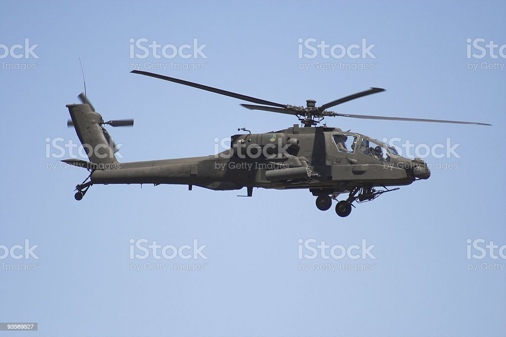 Apache helicopter  in flight royalty-free stock photo