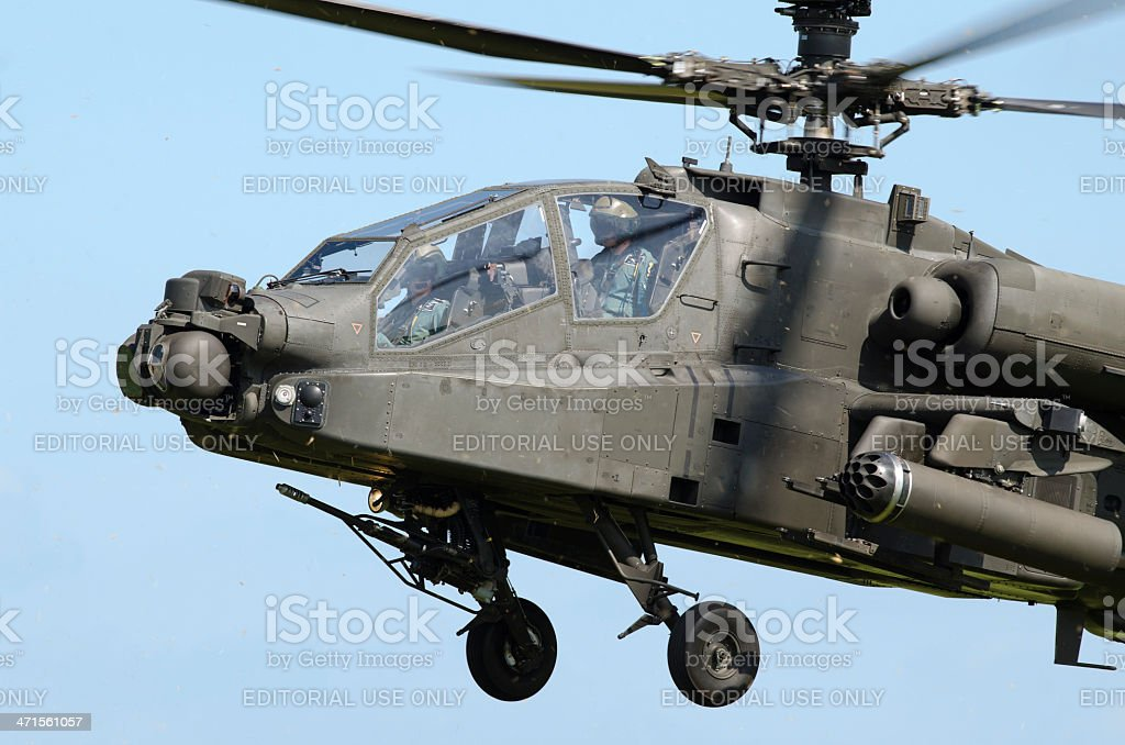 Apache helicopter taking off royalty-free stock photo