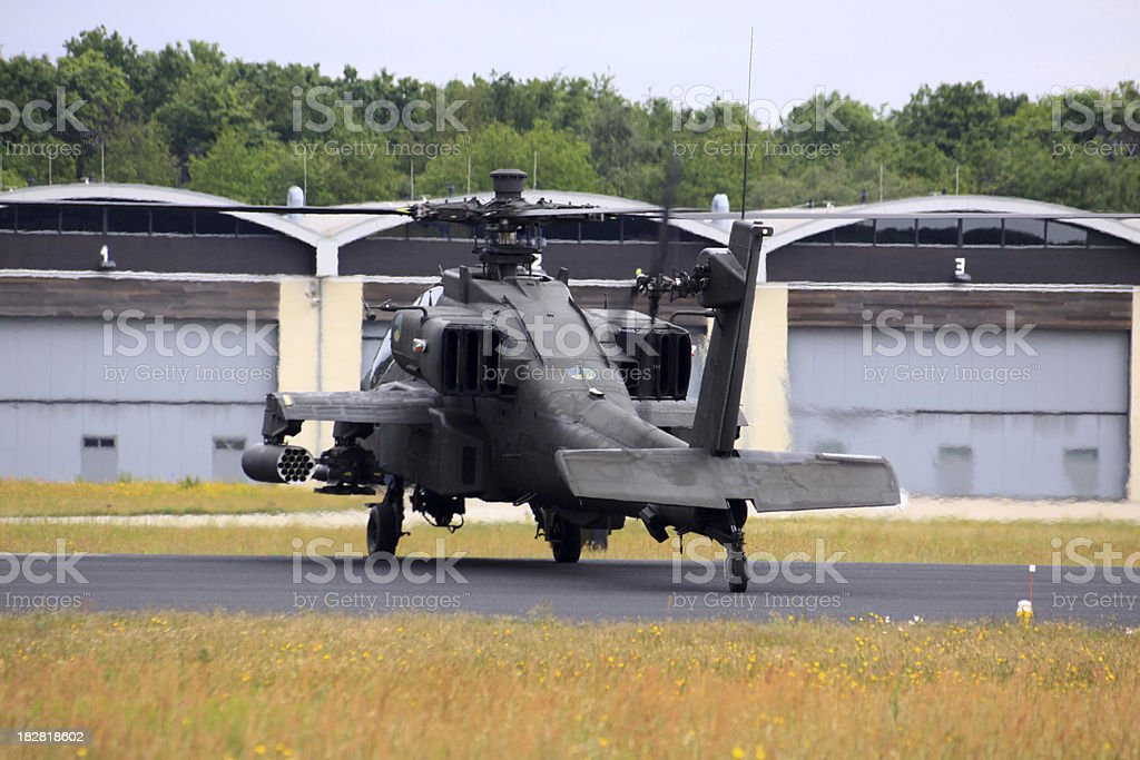 apache helicopter warming up stock photo