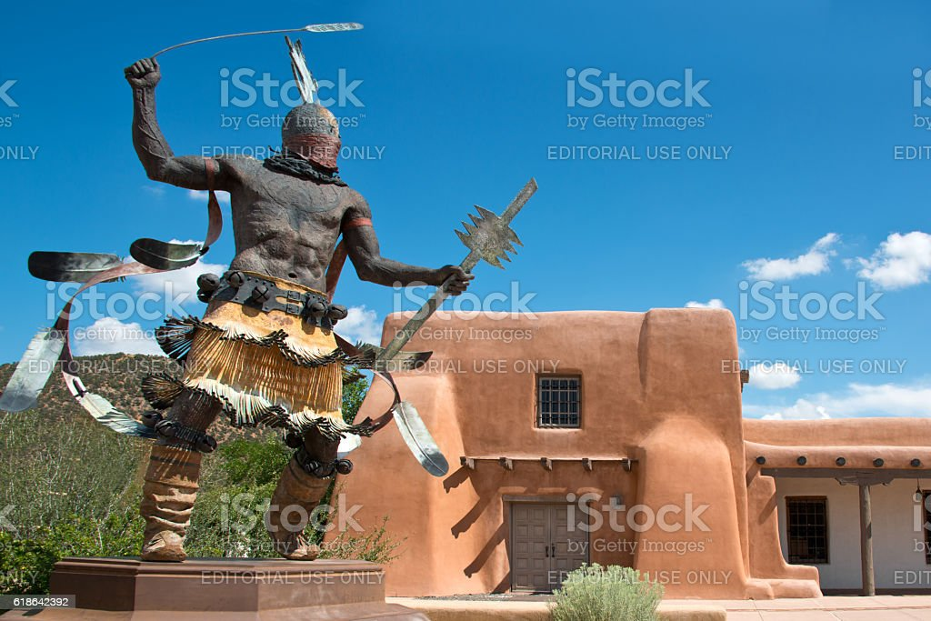 Apache Mountain Spirit Dancer in Santa Fe stock photo