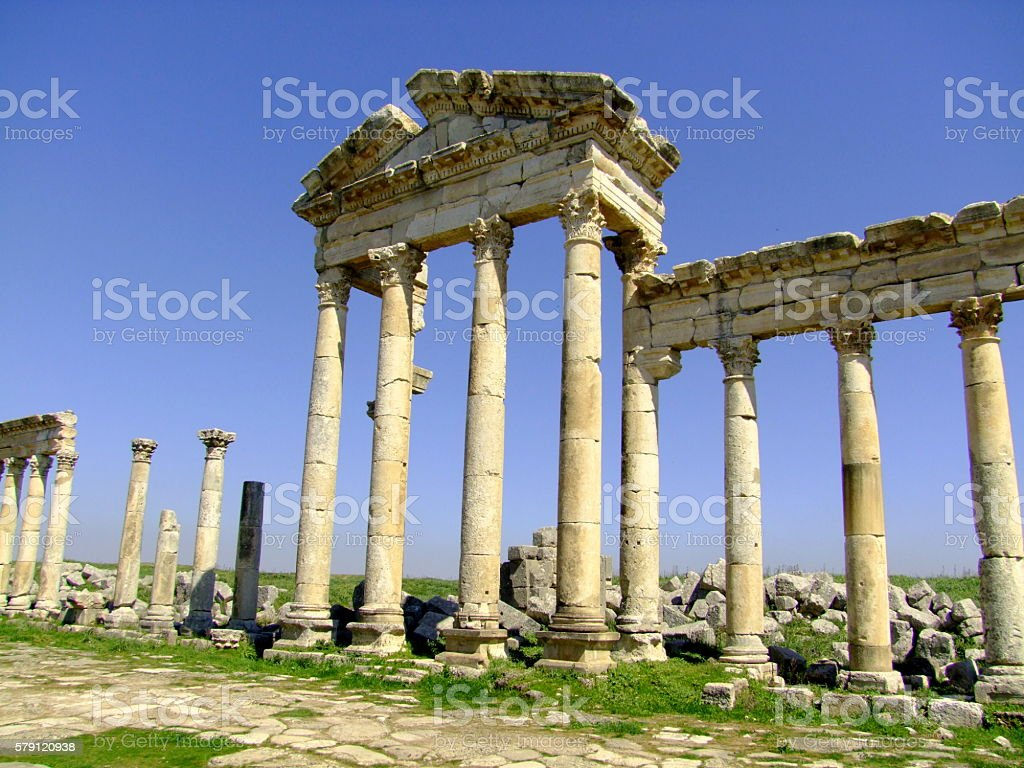 Apamea Colonnade, Temple Facade stock photo