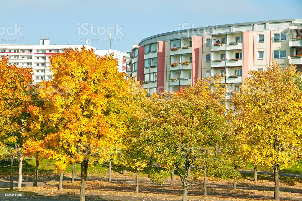 Apartement buildings in autumn, Gera, Thuringia, Germany royalty-free stock photo