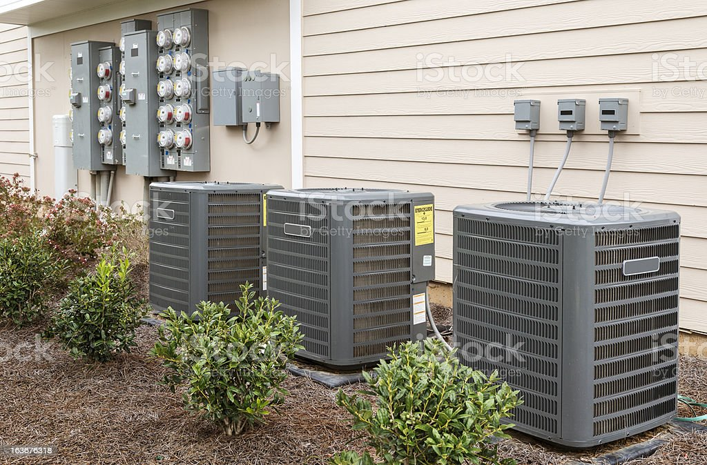 Apartment Air Conditioners and Electric Meters stock photo
