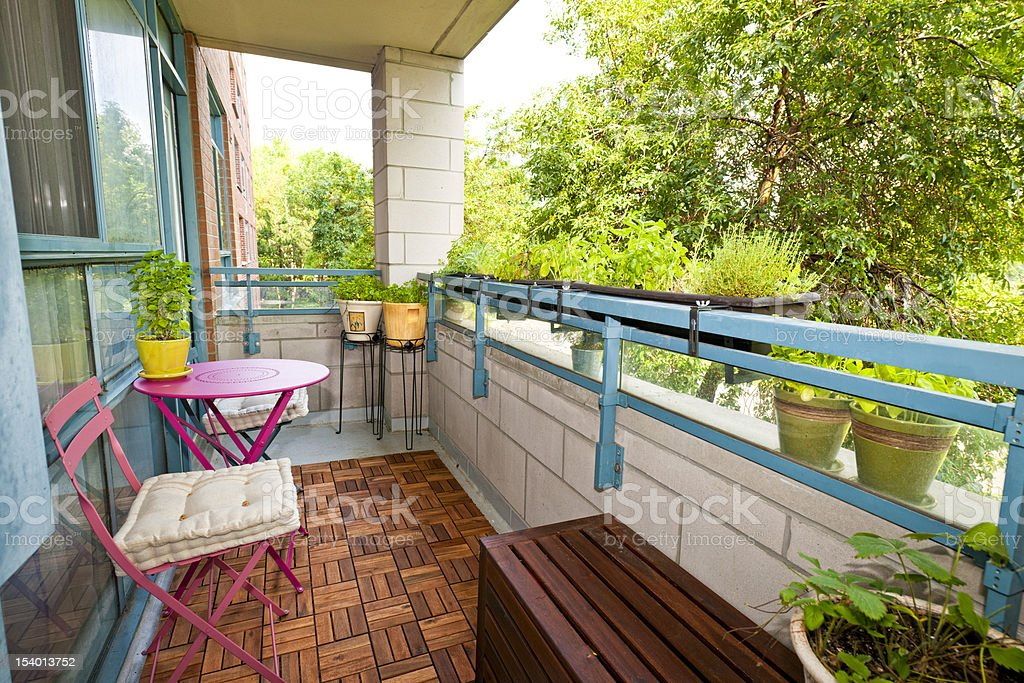 Apartment balcony stock photo