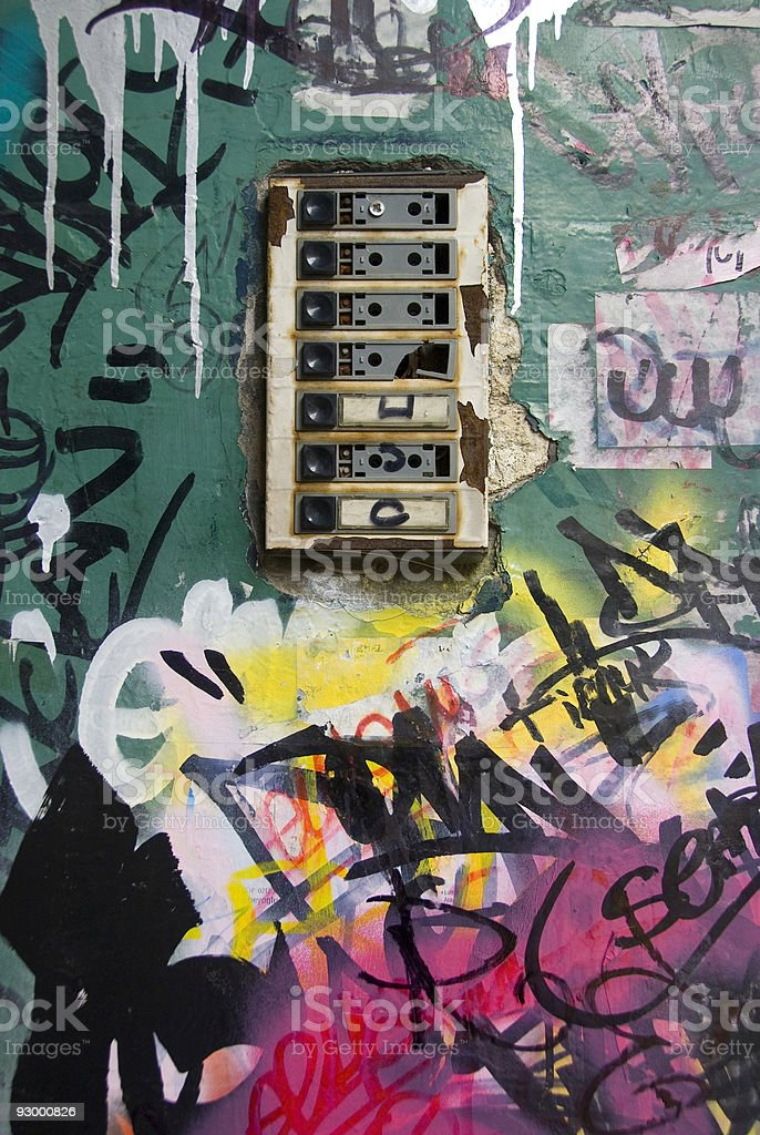Apartment bell and graffiti on wall, Taksim, Istanbul, Turkey royalty-free stock photo
