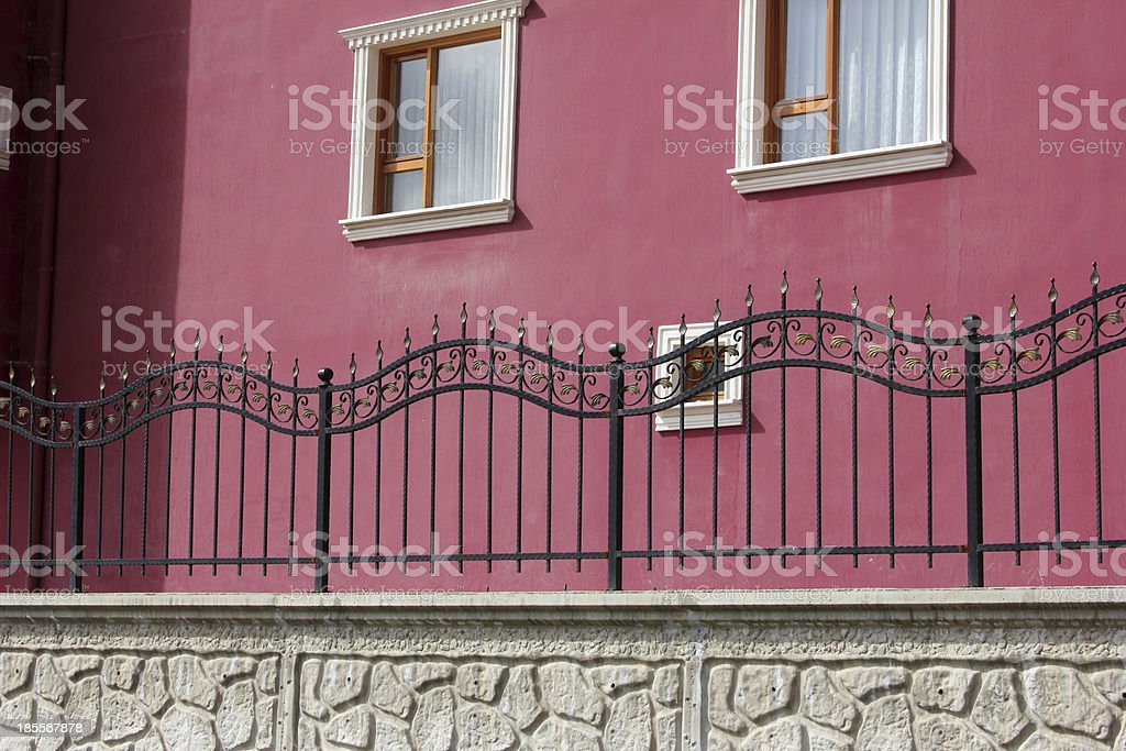 Apartment Block and Wrought Iron stock photo