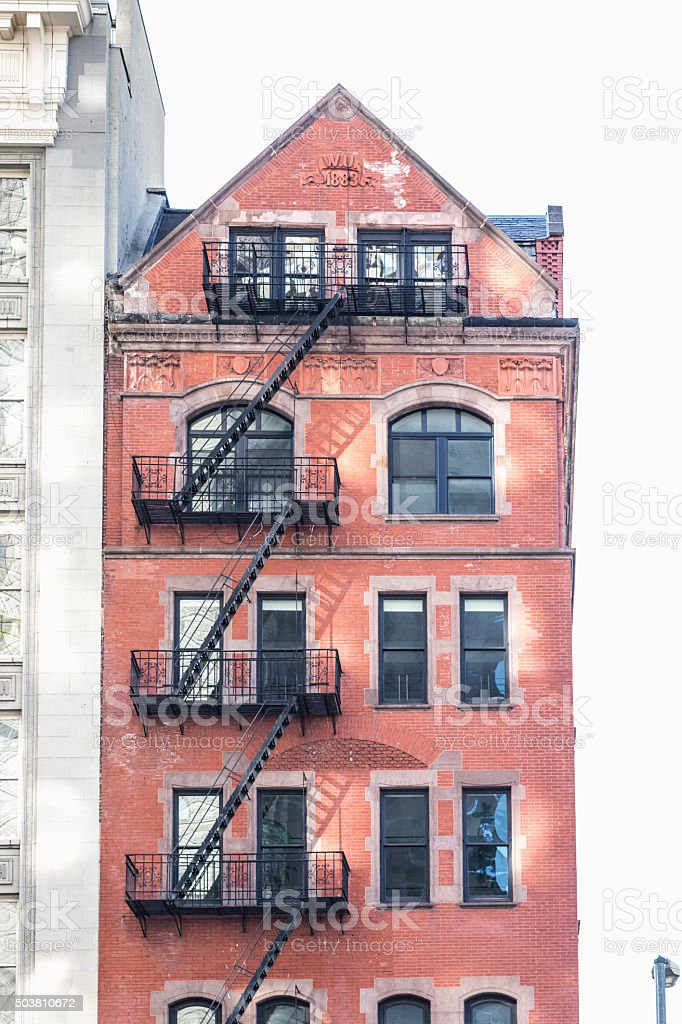 Apartment block in the city of New York, USA stock photo