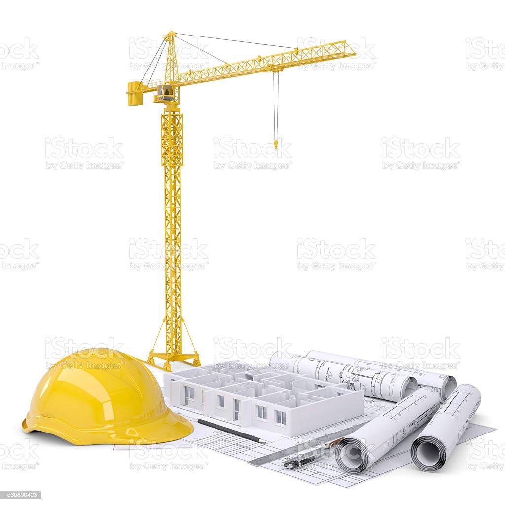 apartment block under construction crane blueprints drawing apartment block under construction crane blueprints drawing instruments hard hat royalty