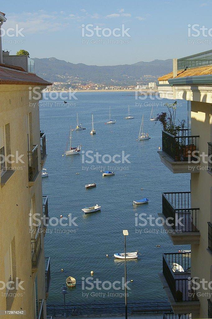 Apartment blocks view over bay stock photo