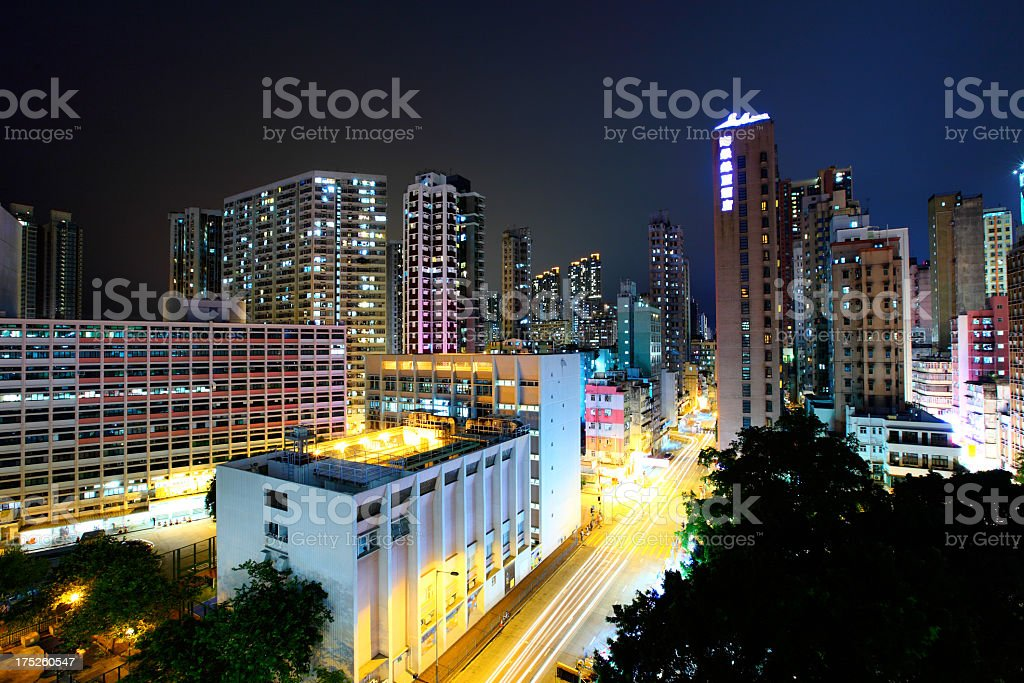 apartment building at night royalty-free stock photo