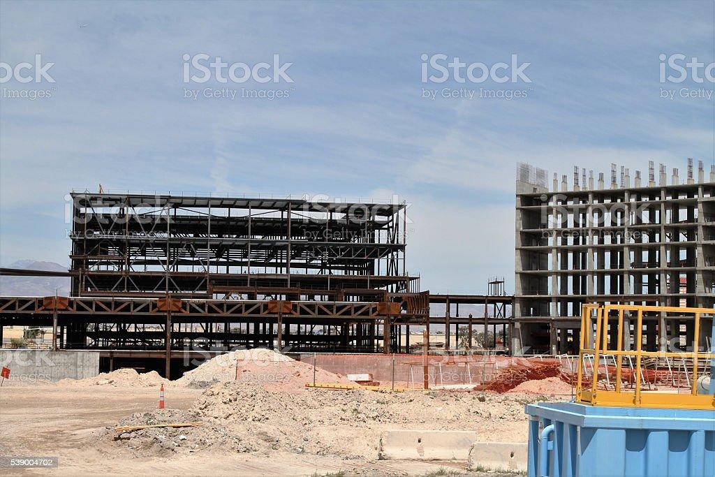 Apartment building construction site stock photo