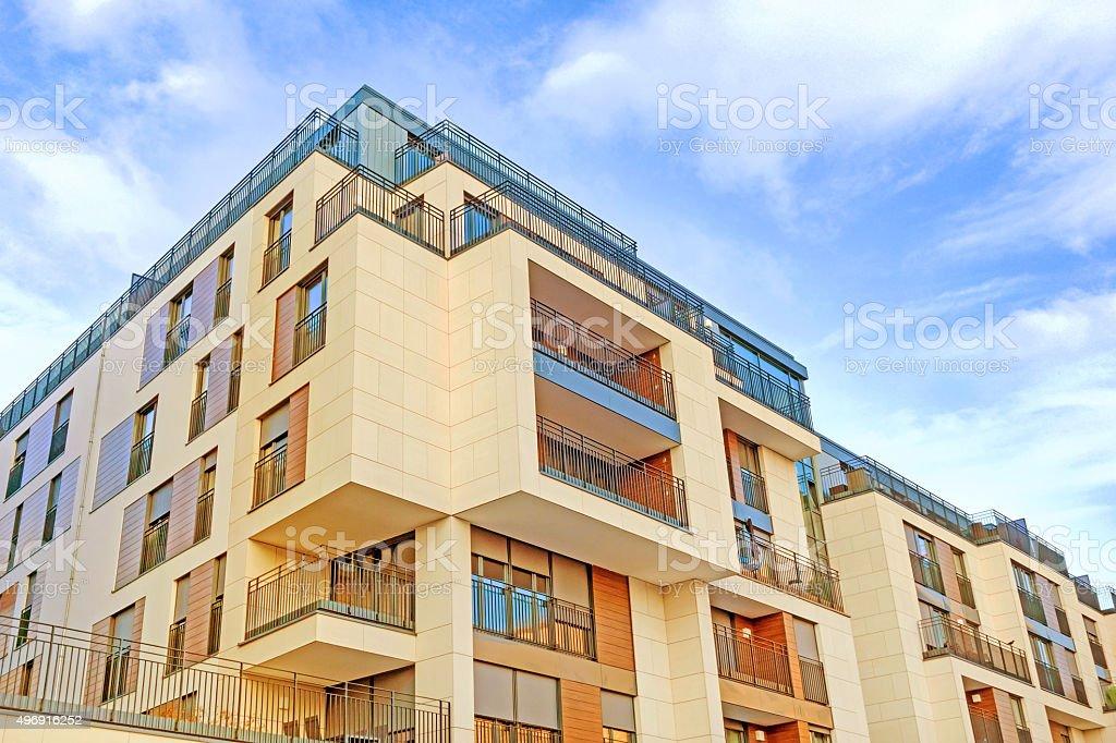 Apartment building facade stock photo