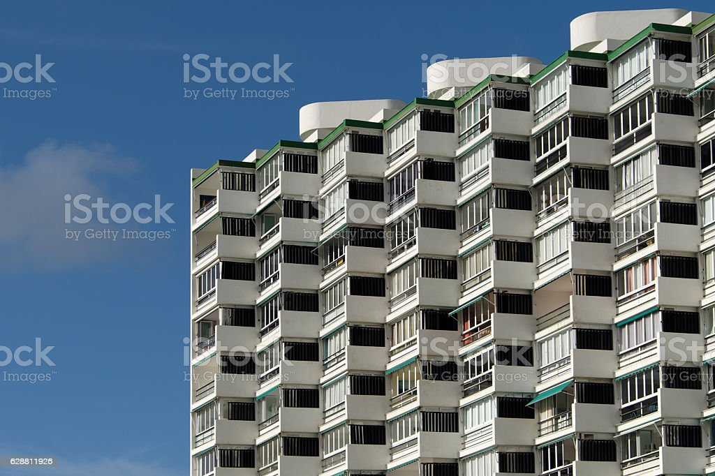apartment building facade - residential building exterior, stock photo