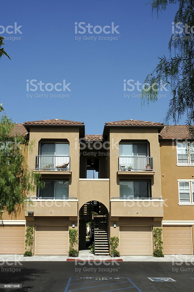 apartment building garages on lower level royalty-free stock photo