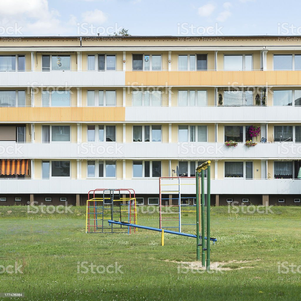 Apartment building in East Germany royalty-free stock photo