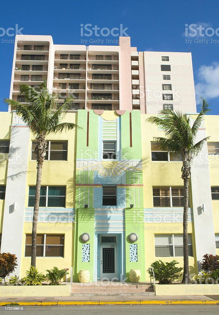 Apartment Building In Miami Beach royalty-free stock photo