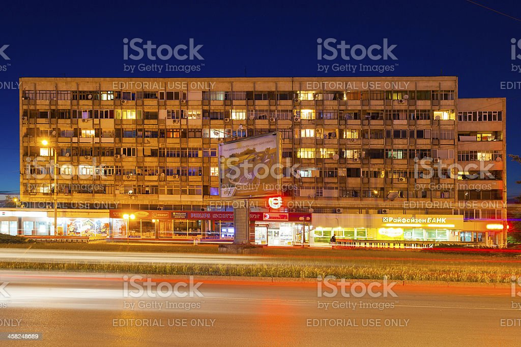 Apartment building in the Bulgarian Ruse stock photo