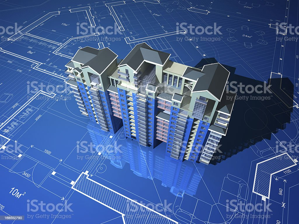 Apartment Building On Blueprint stock photo