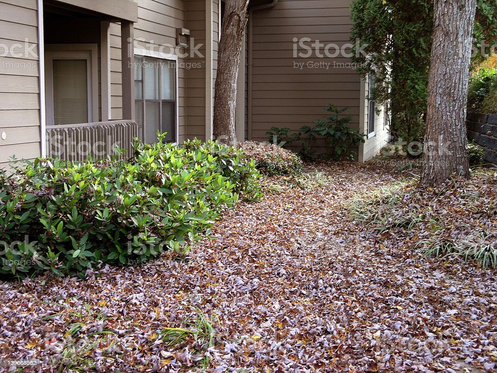 Apartment Building Porch in Autumn royalty-free stock photo
