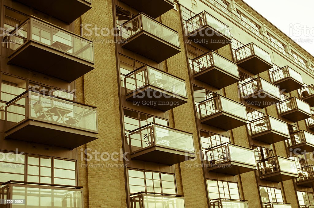 apartment building with balconies in retro style royalty-free stock photo