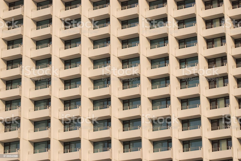 apartment building with balcony stock photo