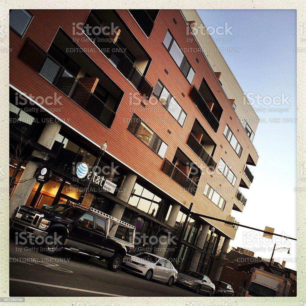Apartment Buildings along Centre Avenue stock photo