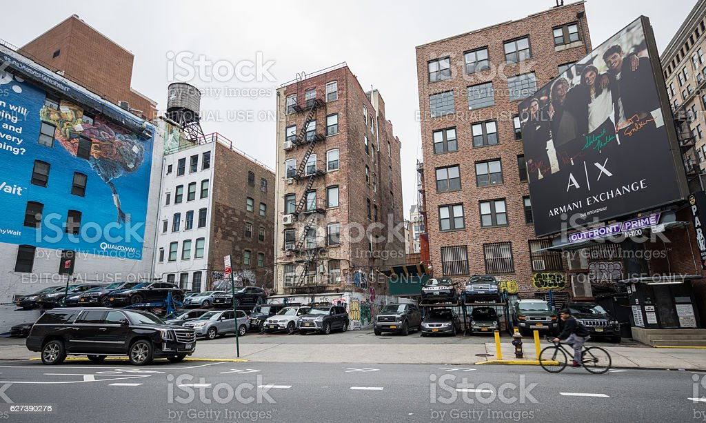 Apartment buildings and parking lot in New York City, USA stock photo