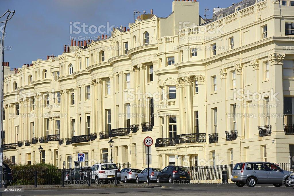 Apartment buildings in Brighton. England stock photo