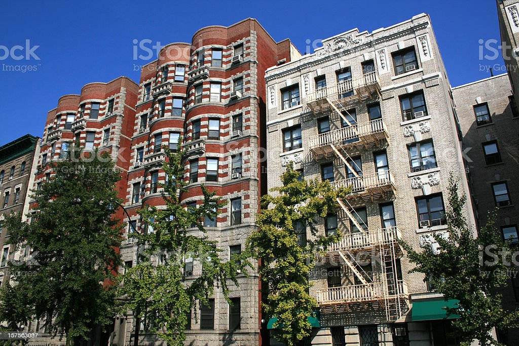 Apartment buildings in Harlem, New York, royalty-free stock photo