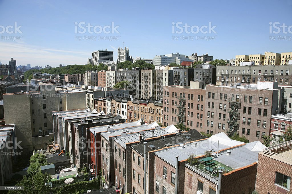 Apartment Buildings In Harlem stock photo