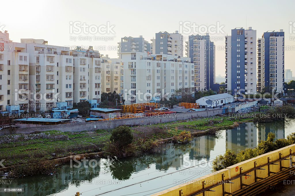 Apartment buildings in Ningbo stock photo