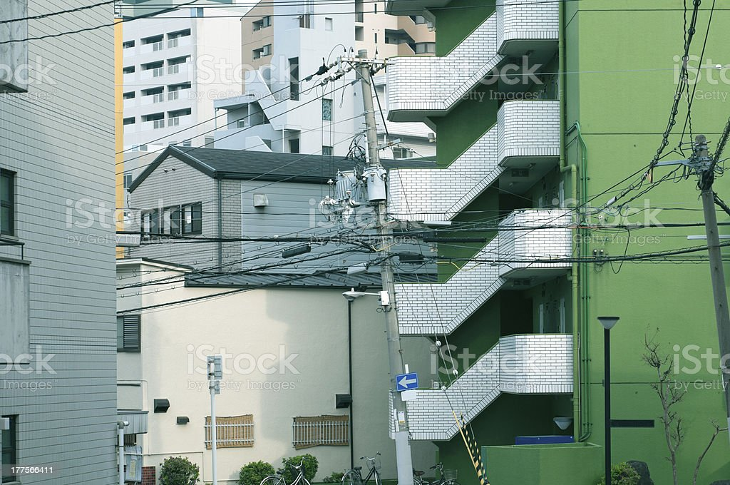 Apartment buildings in residential Osaka royalty-free stock photo