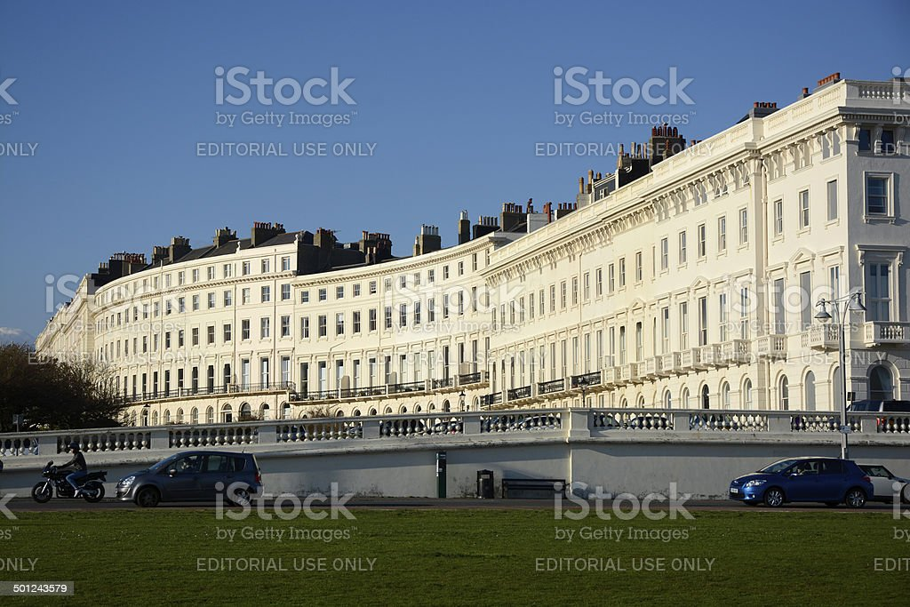 Apartment buildings on Brighton Seafront. England stock photo