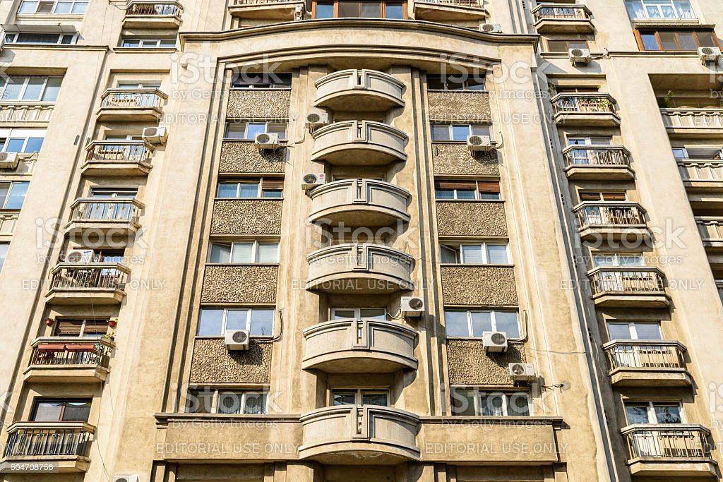 Apartment Buildings On Victory Street (Calea Victoriei) In Bucharest stock photo