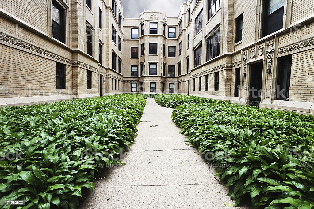 Apartment Buildings with Hostas in Rogers Park, Chicago stock photo