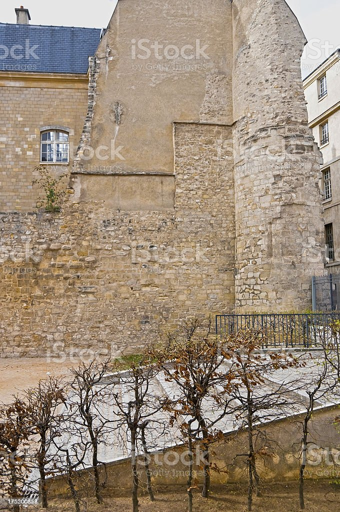 Apartment built into medieval wall in Paris royalty-free stock photo