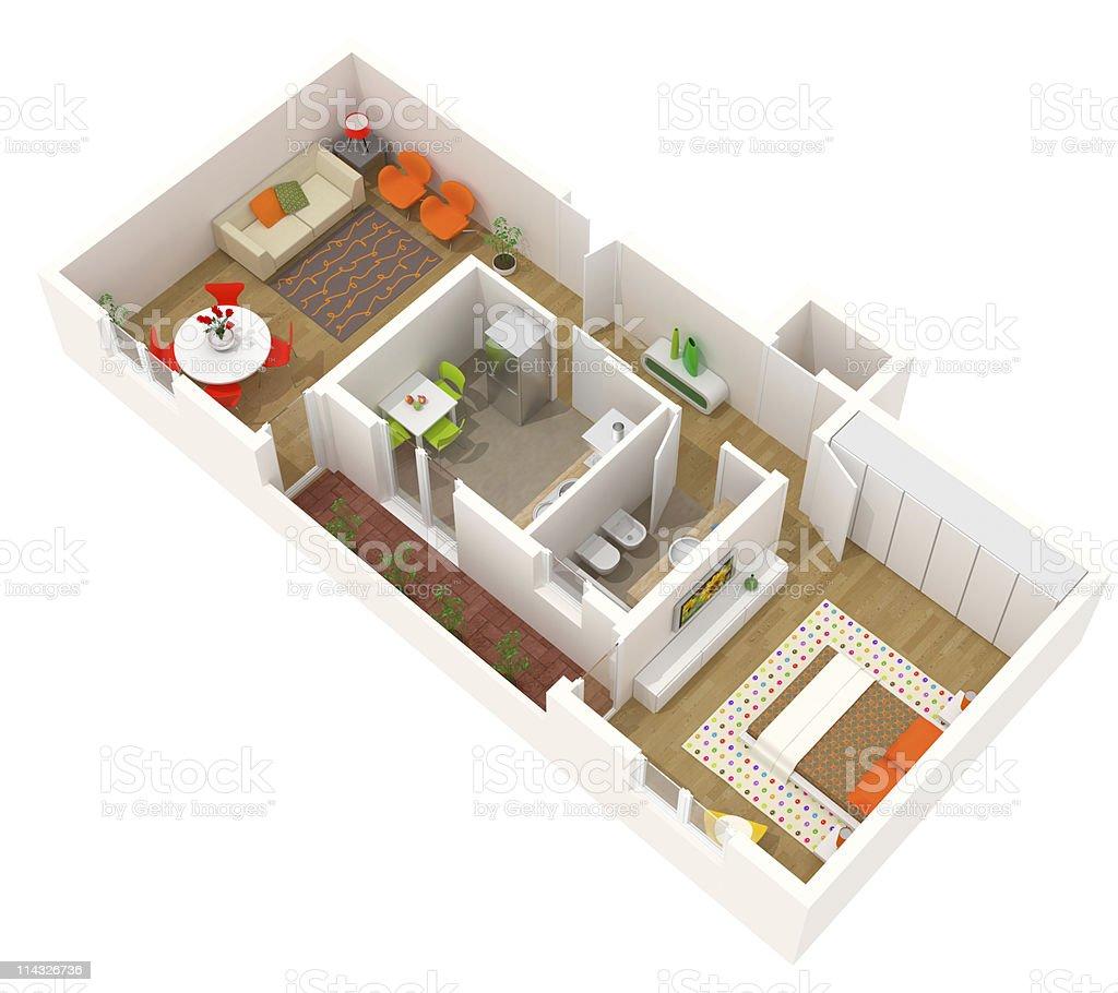 Apartment design - 3d floor plan of a contemporary interior stock photo