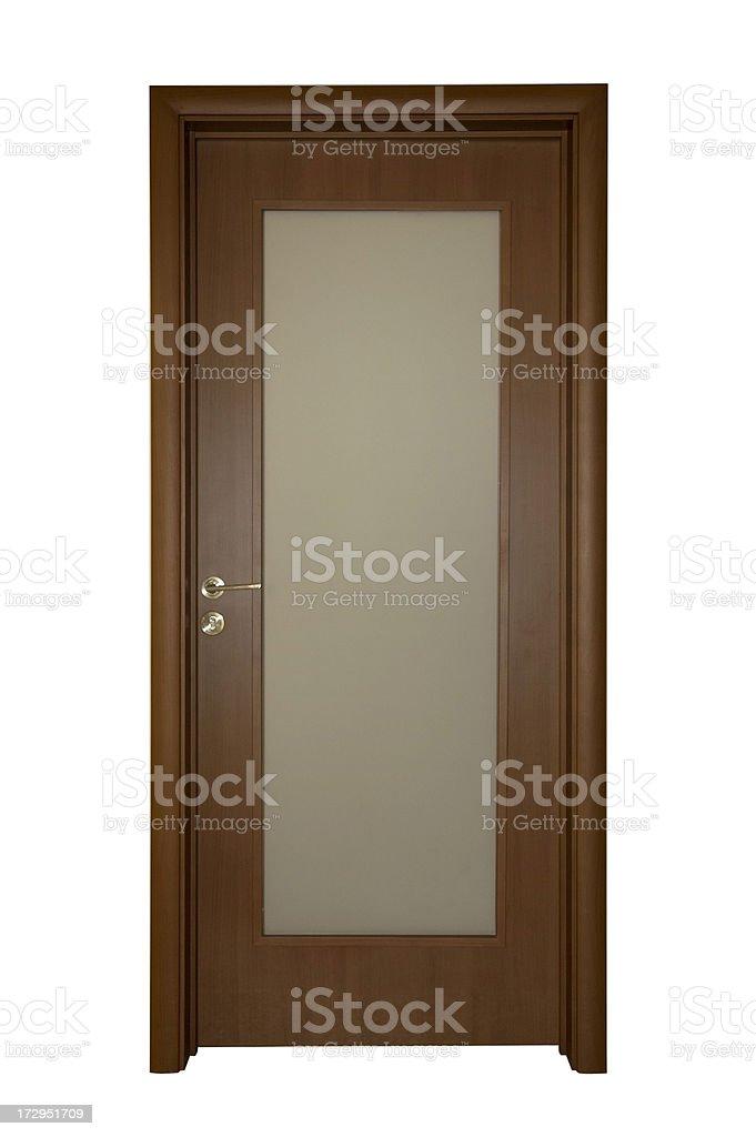 Apartment Door with Glass Panel stock photo