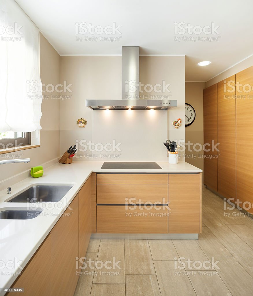 apartment furnished, modern kitchen stock photo