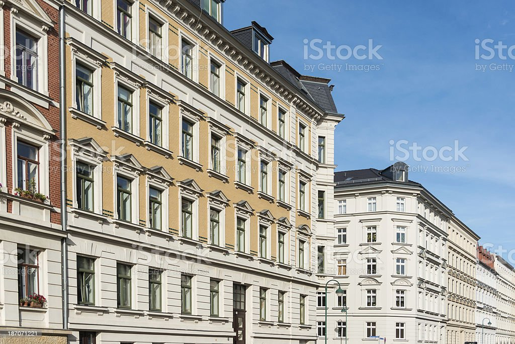apartment home - beautiful facade and blue sky leipzig germany stock photo