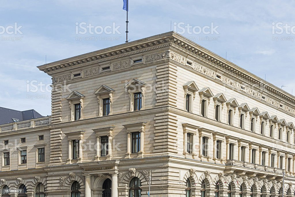 apartment home -big yellow building  in leipzig germany stock photo