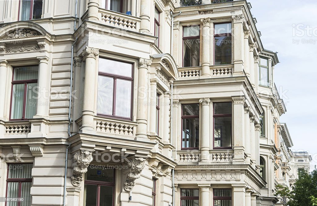 apartment home - facade in leipzig germany stock photo
