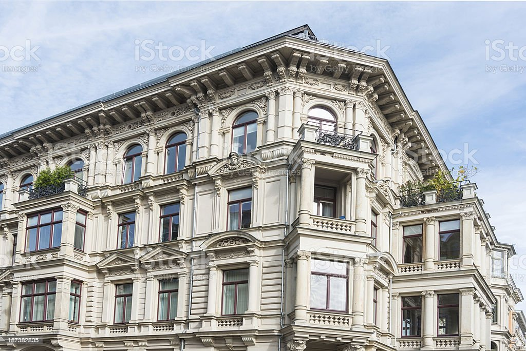 apartment home - in leipzig germany blue sky stock photo