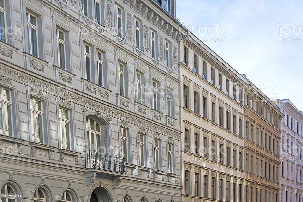 apartment home - in leipzig germany long facade on building stock photo