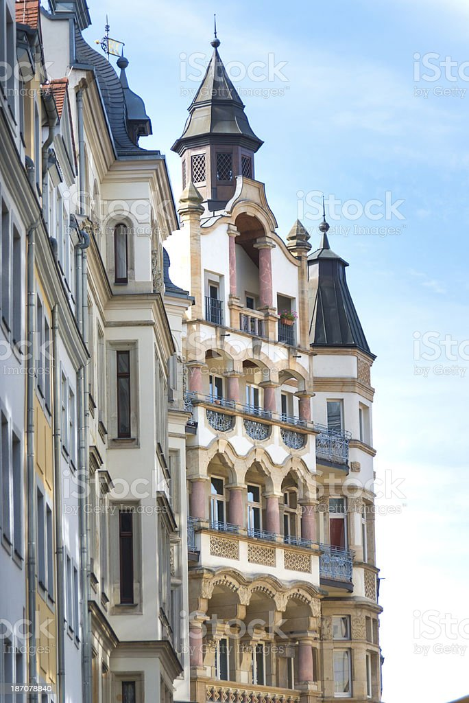 apartment home - in leipzig germany with towers royalty-free stock photo