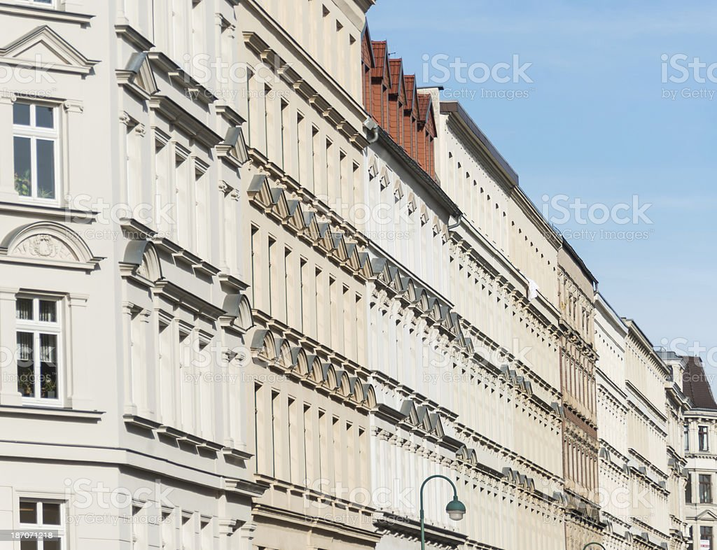 apartment home - long row in leipzig germany stock photo