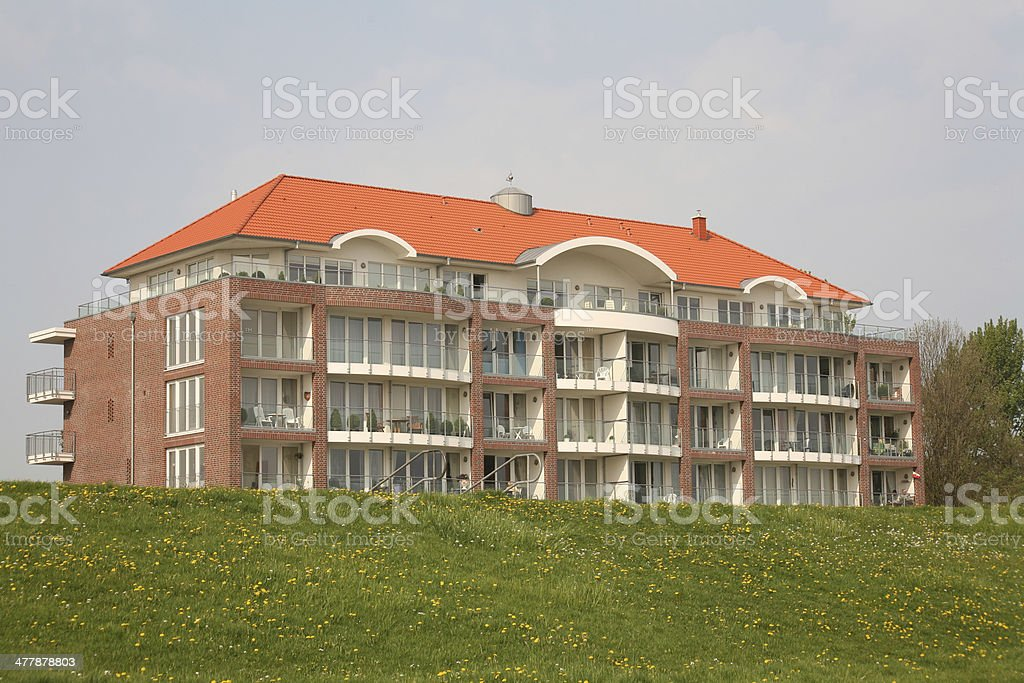 Apartment house in Cuxhaven stock photo