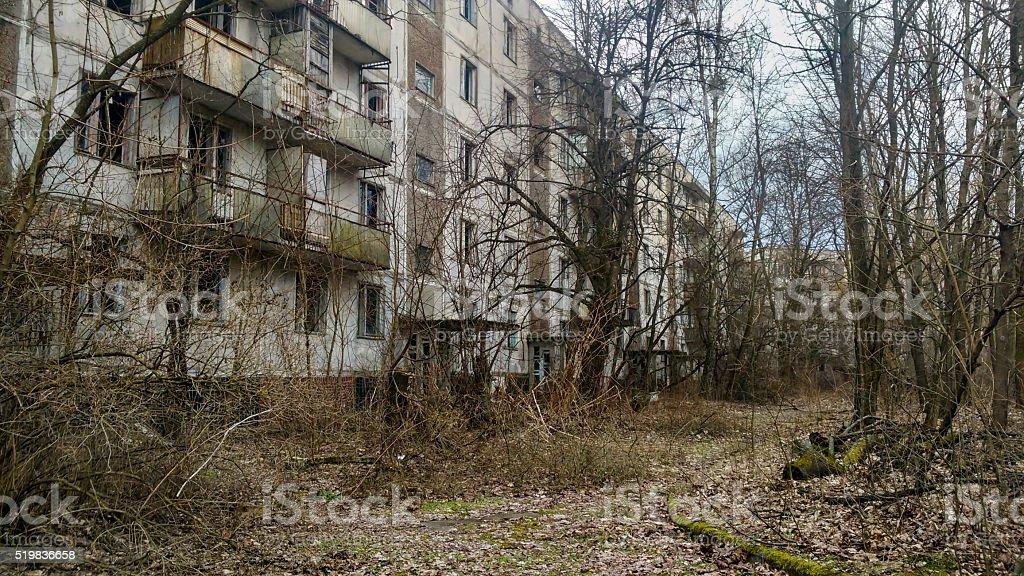 apartment house in Pripyat stock photo