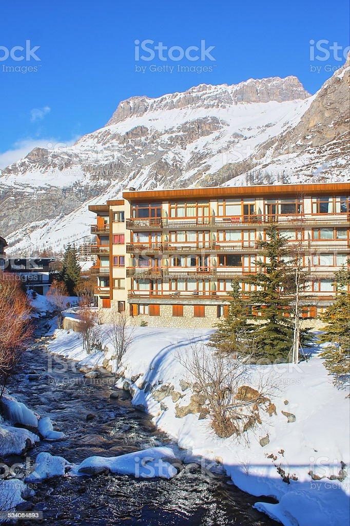 Apartment in Alps ski resort stock photo